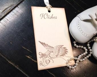 Gender neutral baby shower wish tags-stork- baby shower wish tree -set of 12