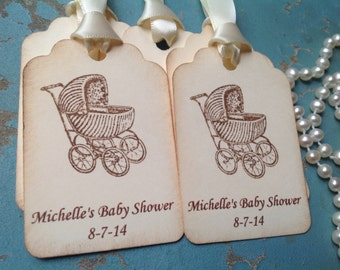 Pram baby tags-Gender neutral Personalized Thank you gift tags- -baby shower favor tags-Birth announcements-set of 12