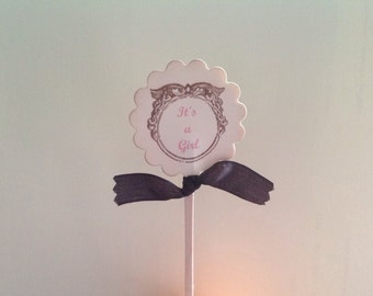 Baby Girl Cupcake Toppers- It's A Girl Cupcake Picks Baby Shower Birthdays