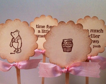 Winnie the Pooh Cupcake Topper-Pooh Cupcake Picks-Baby shower Cake Topper-Wedding cake toppers-set of 12