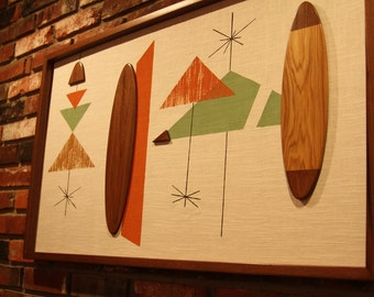 Mid Century Modern Witco Madmen Abstract Wall Art Sculpture Painting Tiki Retro Eames Era