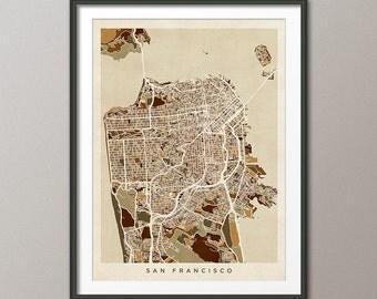 San Francisco California Street Map, Art Print (553)