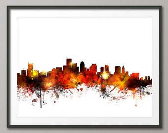 Boston Skyline, Boston Massachusetts Cityscape Art Print (1078)