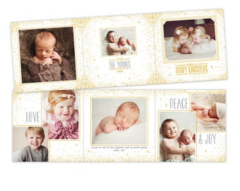 INSTANT DOWNLOAD - 5x5 Christmas Accordion Card Photoshop Template - E953