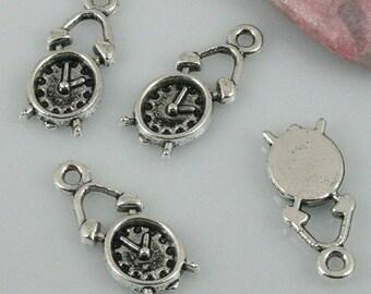 Clock Charm 10 Alarm Clock Charms 19 x 9 mm Antique Silver Tone Metal  ts338