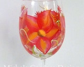 Red Orange Wild Flower Painted Wineglass - SET OF FOUR