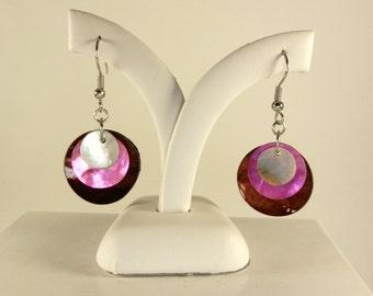 Hot Pink, Brown & White Earrings