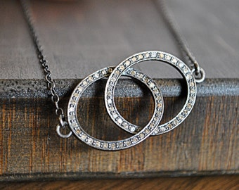 PAVE DIAMONDS INTERLOCKING rings necklace