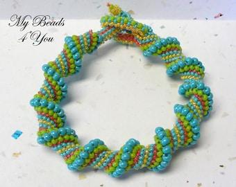 Cellini Spiral Bracelet, Spiral Bracelet, Beadwoven Bracelet, Embellished Bracelet, Seed Bead Bracelet, Beadwork