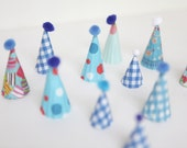 blues - mini party hat cupcake toppers