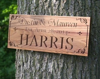 Family Name Sign, Wood Established Sign, Personalized Sign, Carved Wooden Sign, Engagement Date Sign, Benchmark Custom Signs, Walnut AA