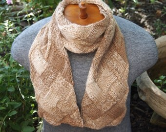 Wool And Alpaca Entrelac Scarf, Brown and Cream - Best Seller