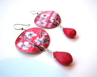Cherry Blossom Pink Earrings from Recycled Metal Soda Cans Eco Friendly Gift