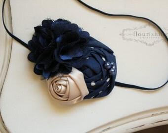 Navy and Cream flower headband, navy headbands, photography prop, cream headbands, newborn headbands