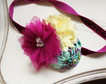 Fuchsia, Yellow and Mint headband, baby headbands, newborn headbands, fuchsia headbands, back to basics headbands,  photography prop