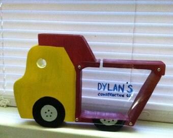 Handmade wooden Dump Truck Piggy Bank