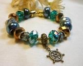 Sailor's Wheel Bracelet, European Style Nautical Charm Bracelet, Deep Teal Bracelet, Antique Bronze Bracelet