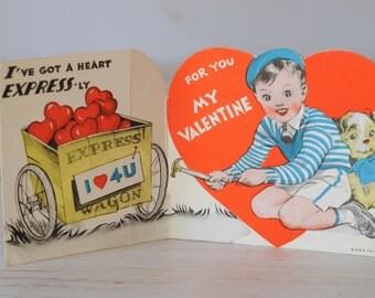 1950s Valentines Card Wood Wagon Boy Dog Hammerl   E5