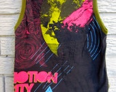 Size 6 (Child's) Upcycled Tank Top / Muscle Shirt: Motion City Soundtrack, Pink, Olive Green, Grey/Black Friday/Cyber Monday/Free Shipping