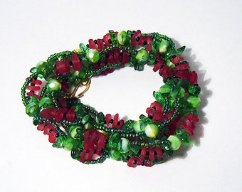 Watermelon - Red and Green Glass Helix Wrap Bracelet