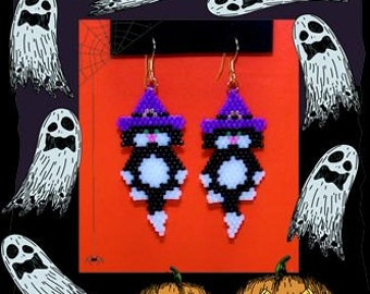 Halloween Witch Kitty beaded earrings