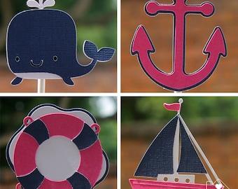 Girl Nautical Cupcake Toppers