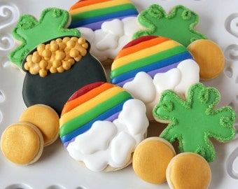 Saint Patrick's Day Decorated Sugar Cookies, Lucky Charm Cookies, Irish Cookies, Rainbow Cookies