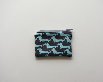Small zippered cotton bag - coin purse - purse organizer-back pocket size -credit card holder-turquoise dachshund dog, modern design
