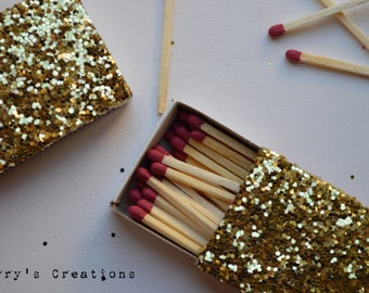 Gold Glitter Hex Sequins Matches. Match boxes. 2 Pieces.