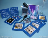 New York City Theme Party Favors Photo Chalkboard Wine Charms / Nametag Gift Set