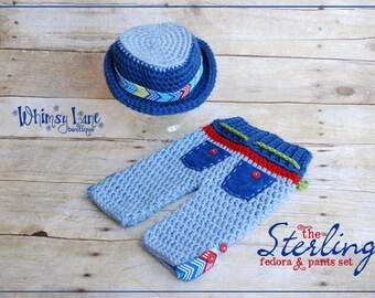 Newborn Fedora Hat an Pants-Sterling Fedora-Summer-Baby Photo Prop