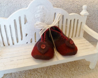 Wine Red,  Maroon, Gray Stripe Felted Wool Baby Booties with Heart and Button Trim. Valentines