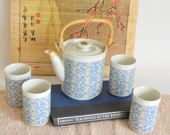 Vintage Tea Pot & Cups. Fine China. Made in Japan. Japanese Asian Kitchen Set Bamboo Handle 4 Tall Cups, Blue and Tan Floral Pattern