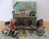 One Inch Scale Dollhouse Miniature Shabby Chic Toy Box Filled