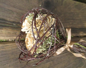 Dried Rose Bouquet, Gift Bouquet, Wedding Bouquet -  Cedar Rose Love Nest  - Cedar Roses, Birch & Baby's Breath or Lapsana