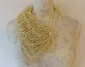 Creme Crocheted Silk & Paper Thread Chunky Necklace