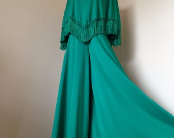 Palazzo Pant Emerald Green Playsuit with Fringe Poncho Top - Romper Jumpsuit - Palazzo Pants - Sleeveless - Lee Jordan New York - Small XS