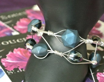 Silver Wire Hand Wrapped Cuff Bracelet with Gunmetal and smokey Blue Beads