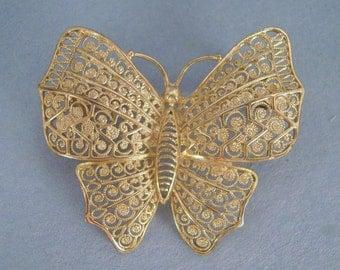 Butterfly Brooch Filigree, Sterling Silver, Made in Germany