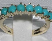 14K Yellow Gold Natural Sleeping Beauty Turquoise Half Eternity Anniversary Ring  Made in England  Customize Your Ring!