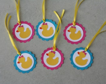 12 Girl Duck Favor Tags, Ducky Favor Tags, Rubber Duck,Duck Birthday, Ducky Baby Shower