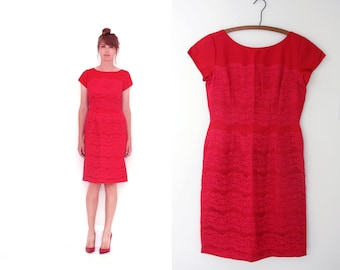 Closing SALE Ferman O'Grady Vintage 50s Red Lace Dress Wiggle Dress Bombshell Dress Medium - Large