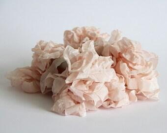 5 m - 5.4 yards - PEACHY PINK Shabby Wrinkled Ribbon - Crinkled Seam Binding Ribbon