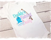 Girls Applique Bodysuit-Embroidered Saying One Piece-Baby Girls Daddy's Fishing Buddy-Baby Girls ShoClothes-Baby Shower Gift