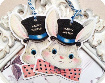 Happy Easter Gift Tags (6) Bunny Tags-Easter Favor Tag-Easter Treat Tag-Rabbit Gift Tag-Shabby Easter Tag-Easter Bunny Die Cut-Embellishment