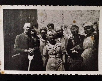 Original Antique Photograph The Factory Workers