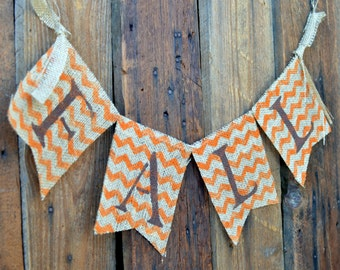 Fall CHEVRON BURLAP banner for Halloween