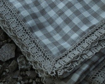 """SALE Linen Tablecloth  57""""x95"""" Ivory and Grey Checked with Natural Linen Lace"""