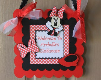 Minnie Mouse Party Sign - Minnie Mouse Door Sign - Minnie Mouse Welcome Sign
