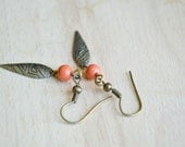 Tribal Earrings for Women Bronze Spears With Vintage Coral Bead Accents,  Dangle Earrings Under 25, 20 - J116-8